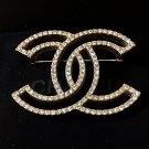 CHANEL Pale Gold Crystal Brooch Pin HOLLOW Design Hallmark Authentic NIB