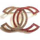 CHANEL Crystal Booch Pin Double CC Red & Gold Rhinestone Authentic Hallmark NIB