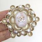 CHANEL Byzantine Brooch Pink Silver Pearl Petal Vintage CC Authentic NIB