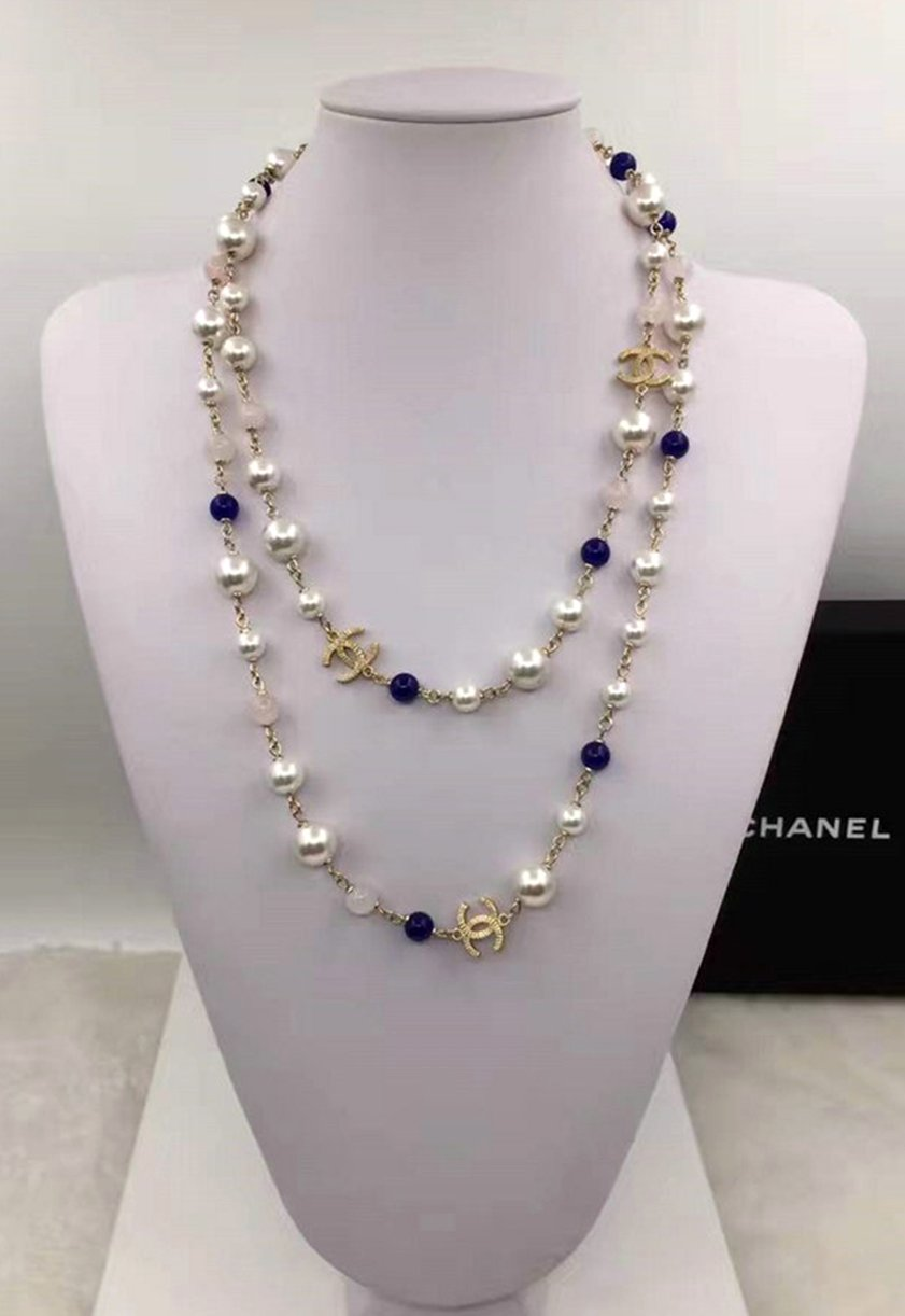 CHANEL CC Pearl Necklace Blue Pink Glass Bead Gold Metal Chain Long Strand NIB