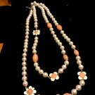 CHANEL PINK Pearl Necklace Glass Bead Clover Leaf Long Strand Gold Chain CC NIB