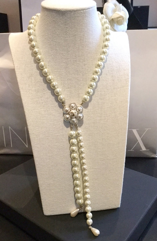 CHANEL Camellia Pendant Necklace Cream Pearl Bubble Fringe Gold Chain Dangle NIB