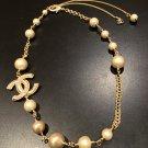 CHANEL CC PEARL Resin Short Necklace Choker Gold Chain Bracelet Multi-Purpose
