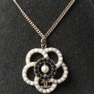 CHANEL Camellia Pearl Black White CC Pendant Necklace GOLD Chain Authentic NIB
