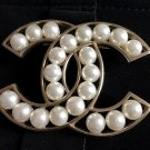CHANEL PEARL Cream Resin Fashion Brooch Pin GOLD Hollow CC ICON Authentic NIB