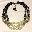 CHANEL Multi-Color 3 Strand Necklace Choker BLACK Grey WHITE Gradual Pearl NIB