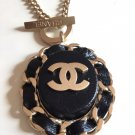 CHANEL Gold Chain Necklace Black Leather Weave Oval Pendant Authentic NIB