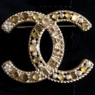 CHANEL GOLD Metal Fantasy Pearl Crystal CC Brooch 2016 Fall Winter Authentic NIB