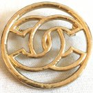 CHANEL GOLD Metal CC Hollow Brooch Pin Simplicity Authentic HALLMARK NIB