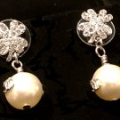 CHANEL Crystal Stud Dangle Drop Earrings Cream Pearl SILVER CC Clover Leaf NIB