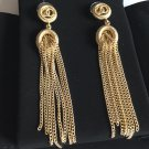 CHANEL CC Gold Drop Dangle Earrings Metal Fringe OVAL Medal Long Chain NIB