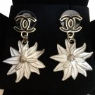 CHANEL Flower Dangle Earrings Black CC Stud WHITE Chrysanthemum Enamel Petal