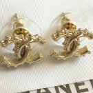 CHANEL Delicate CRYSTAL CC Gold Stud Earrings Rhinestone Authentic Hallmark NIB