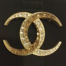 CHANEL Dubai Gold Crystal Baguette CC Moonlight Fashion Brooch Pin Authentic
