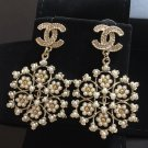 CHANEL GOLD CC Seed Pearl Flower Dangle Earrings 2017 Authentic NIB