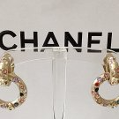 CHANEL Multi Color Rhinestone GOLD Metal Clip Earrings Byzantine Jewel NIB