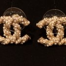 CHANEL Twisted Pearl CC Gold Stud Earrings Authentic Hallmark NIB