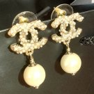 CHANEL Twisted Pearl CC Gold Dangle Earrings Authentic Hallmark NIB