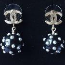 CHANEL Gold CC Stud White Pearl Black Ball Small Dangle Earrings NIB