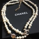 CHANEL Sun Moon 2 Strand Necklace Choker Gold Crystal Pearl 2017 NIB