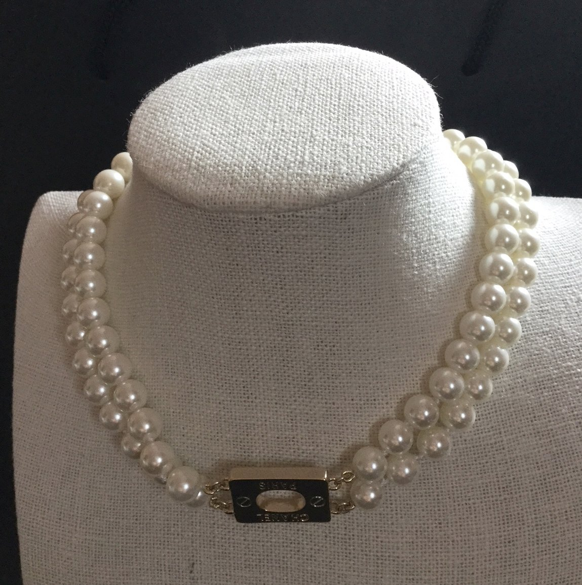 CHANEL 2 Strand Gold Necklace Choker Pearl 2017 Simplicity NIB