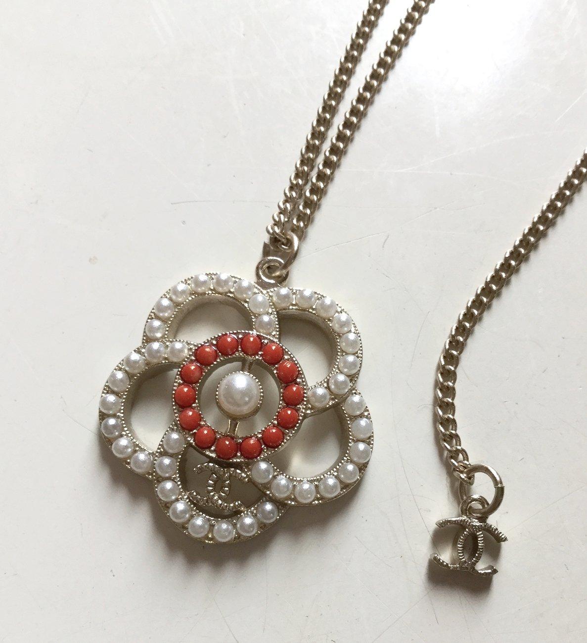 CHANEL Camellia Pearl White Red CC Pendant Necklace GOLD Chain Authentic NIB