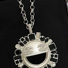 CHANEL Emoji SMILEY Pendant Necklace Black Rhinestone Crystal Silver Chain