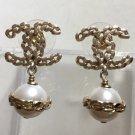 CHANEL CC Gold Chain Stud Pearl Dangle Earrings Authentic NIB