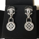 CHANEL Silver Twist CC Stud Blue Clear Crystal Lock Dangle Earrings Dainty