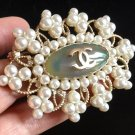 CHANEL Pearl Scatter Crystal CC Gold Brooch Byzantine Big Oval Authentic NIB