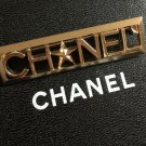 CHANEL Plain GOLD Brooch Pin All-Letters Badge Authentic CC HALLMARK NIB