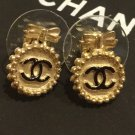 CHANEL CC Gold Medal Mini Bow Stud Earrings Hallmark Authentic NIB