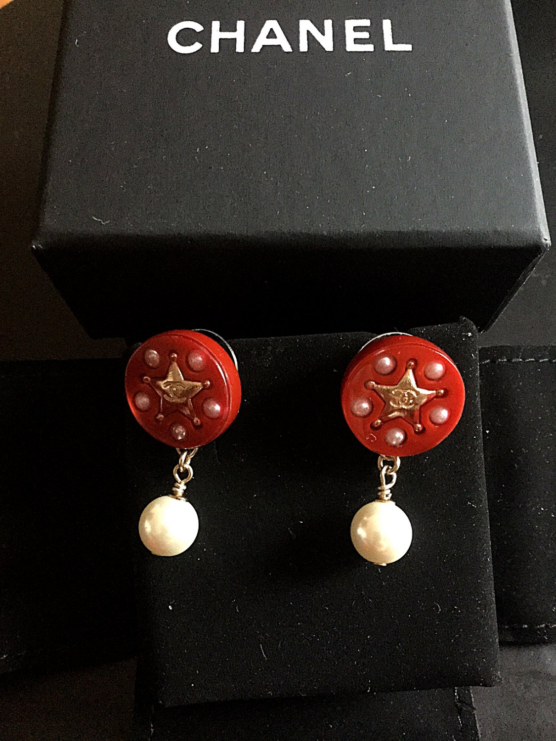 CHANEL Red Acrylic Gold Star CC Stud Pearl Dangle Earrings Authentic NIB