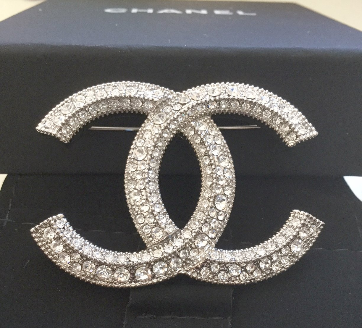 CHANEL CC Crystal Baguette Silver Fashion Brooch Pin Large Authentic NIB