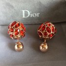 DIOR TRIBAL Red Crystal Gold Stud Earrings Mise En Dior Tribale Authentic NIB