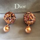 DIOR TRIBAL Violet Crystal Gold Stud Earrings Mise En Dior Tribale Authentic NIB