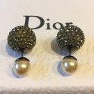 DIOR TRIBAL Pearl Stud Ruthenium Tiny Crystal Earrings Mise En Dior Tribale