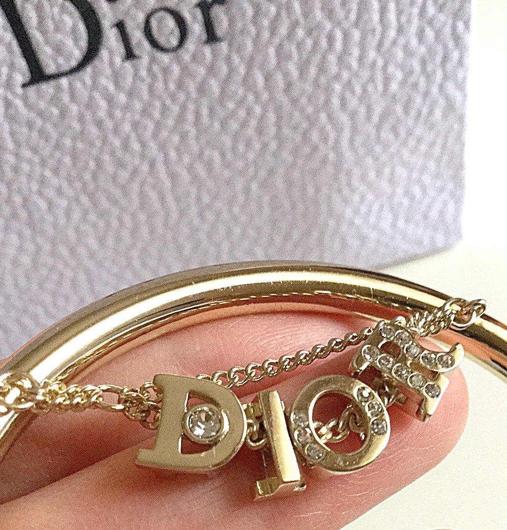 CHRISTIAN DIOR Fashion Bracelet Gold Crystal Bangle Cuff Authentic NIB
