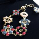 CHANEL Multi Color Enamel Jewel CC Pearl Crystal Gold Bracelet Authentic NIB