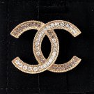 CHANEL CC Grey Clear Gradual Crystal Gold Fashion Brooch Pin Authentic NIB