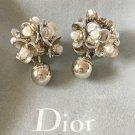 DIOR TRIBAL Flower Petals Pearl Gold Stud Earrings Mise En Dior Authentic NIB