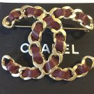 CHANEL CC RED Leather Woven Gold Chain Brooch 2016 RUNWAY Authentic RARE NIB