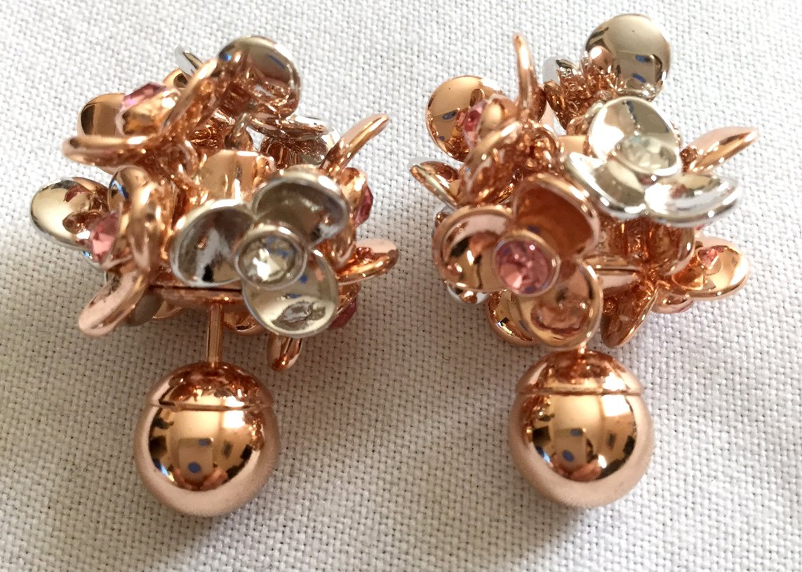 DIOR TRIBAL Rose Gold Flower Petals Pearl Earrings Mise En Dior Authentic NIB