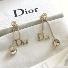 DIOR by DIOR 2 Crystal Gold Chain Dangle Earrings Signature Icon NIB