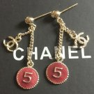 CHANEL Gold Stud No 5 Red enamel CC Metal Chain Dangle Drop Earrings