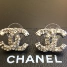 CHANEL Medium CC Silver Stud Earrings Crystal Square Round Authentic NIB