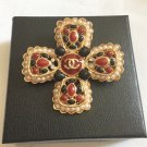 CHANEL CC Brooch Pin Red Black Enamel Cross Gold Metal Pendant Vintage NIB