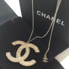 CHANEL Crystal Baguette CC Big Pendant Silver Chain Necklace Authentic NIB