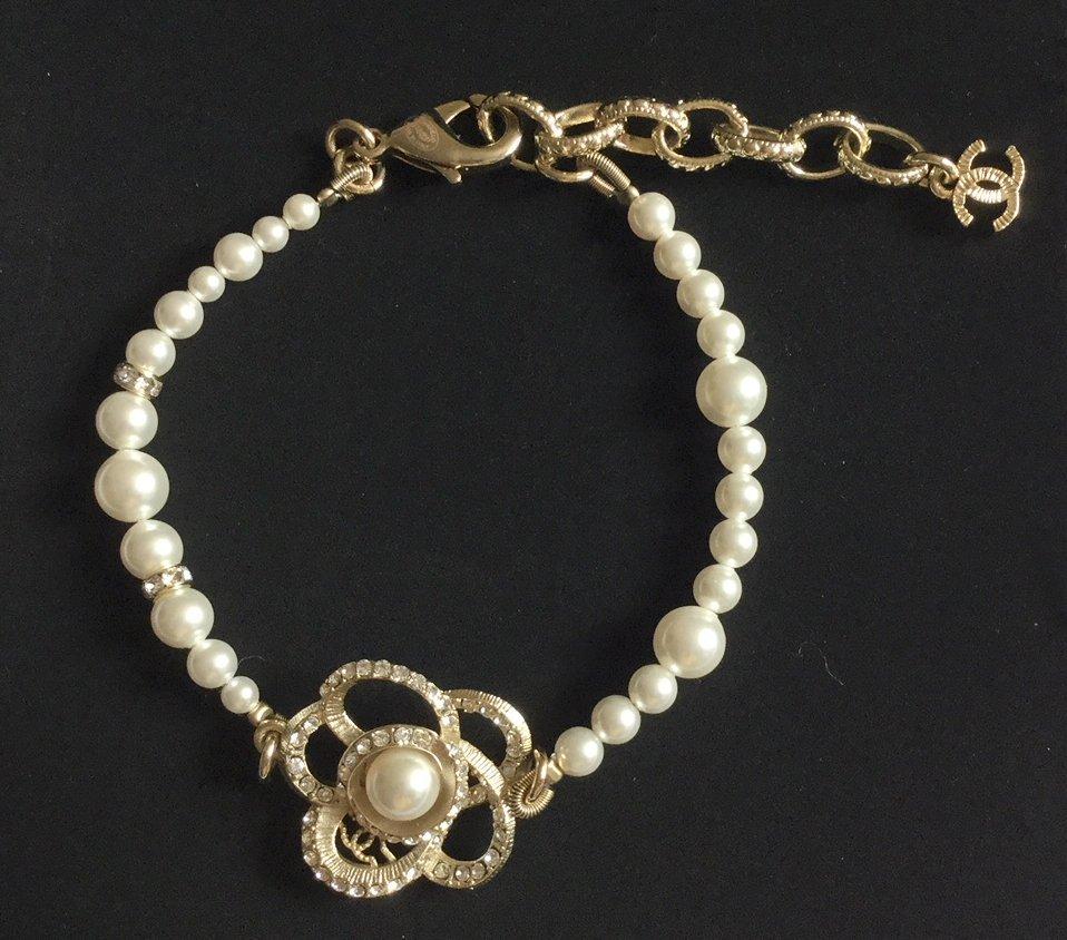 CHANEL Camellia CC Crystal Pearl Bracelet Gold Metal Authentic NIB