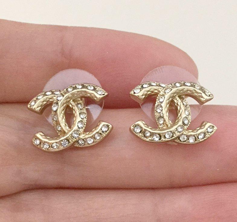 CHANEL CC Classic Crystal GOLD Stud Earrings Small Hallmark Authentic NIB